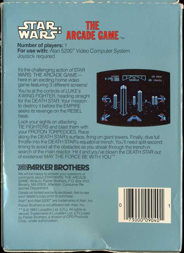 Star Wars - The Arcade Game (1983) (Parker Bros) Box Scan - Back