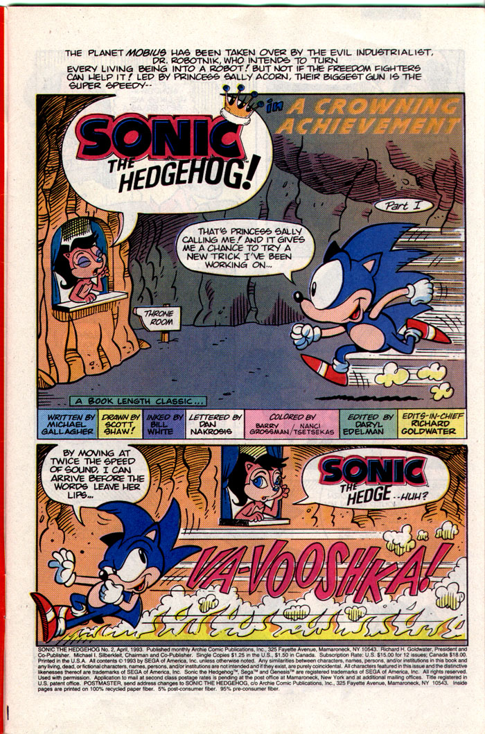 Sonic - Archie Adventure Series April 1993 Page 1