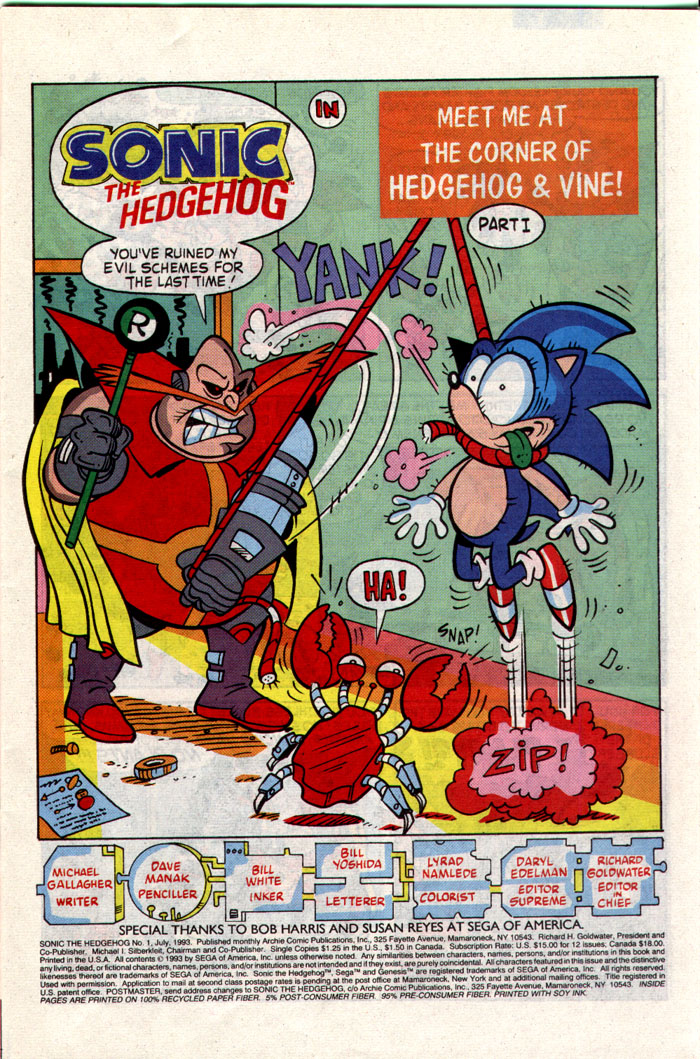 Sonic - Archie Adventure Series July 1993 Page 1