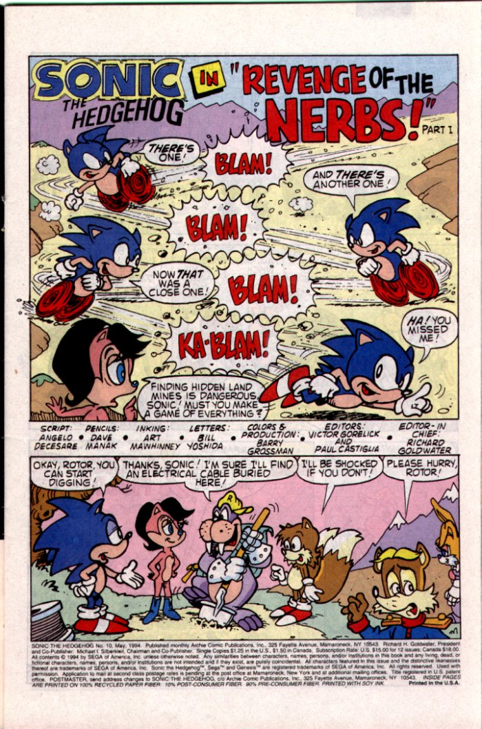 Sonic - Archie Adventure Series May 1994 Page 1