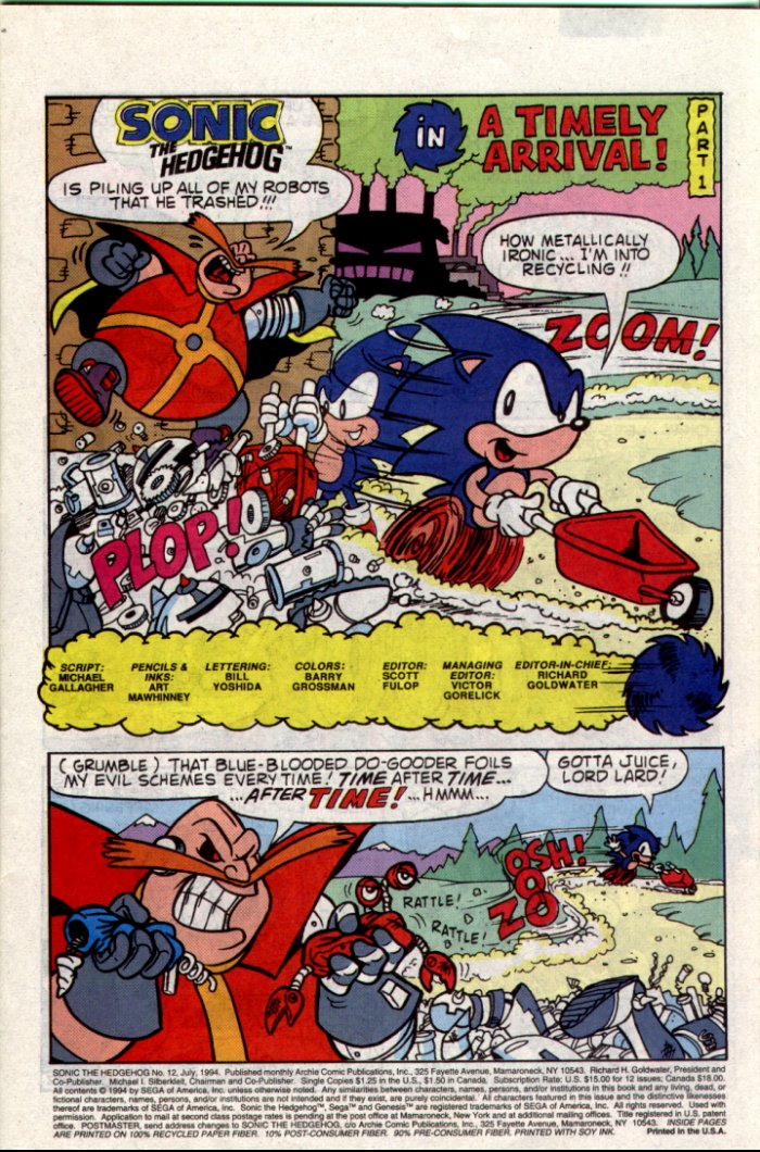 Sonic - Archie Adventure Series July 1994 Page 1