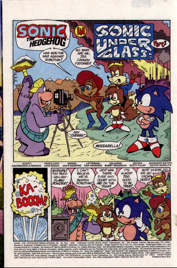 Sonic - Archie Adventure Series November 1994 Page 1