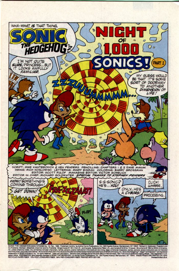 Sonic - Archie Adventure Series February 1995 Page 1