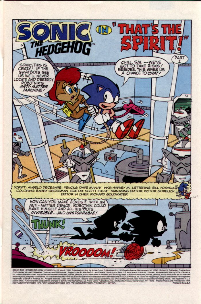 Sonic - Archie Adventure Series March 1995 Page 1