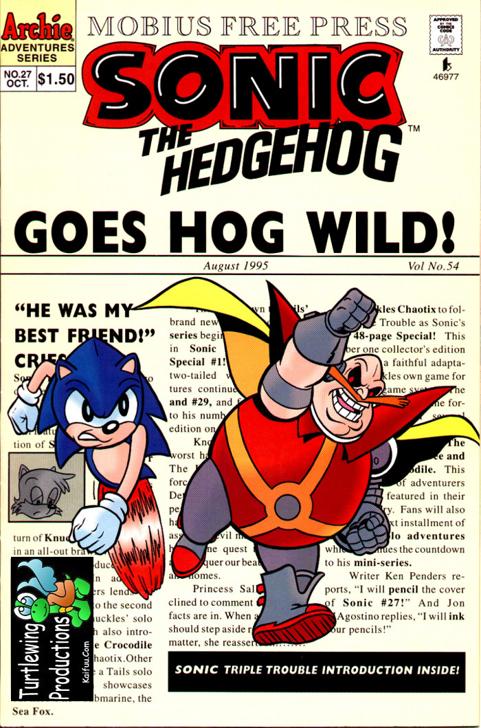 Sonic - Archie Adventure Series October 1995 Cover Page