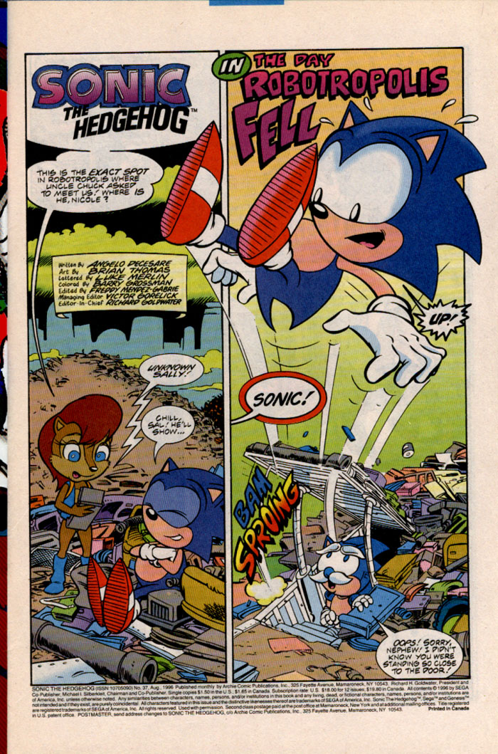 Sonic - Archie Adventure Series August 1996 Page 1