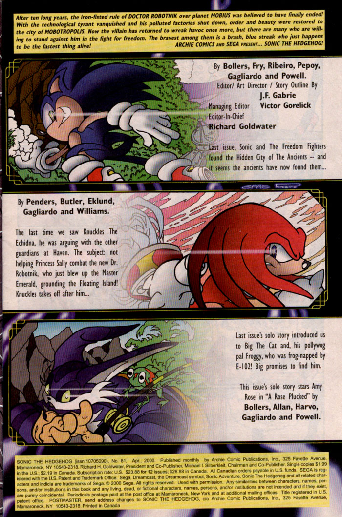 Sonic - Archie Adventure Series April 2000 Page 1