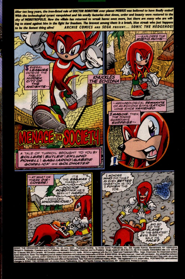 Sonic - Archie Adventure Series June 2000 Page 1