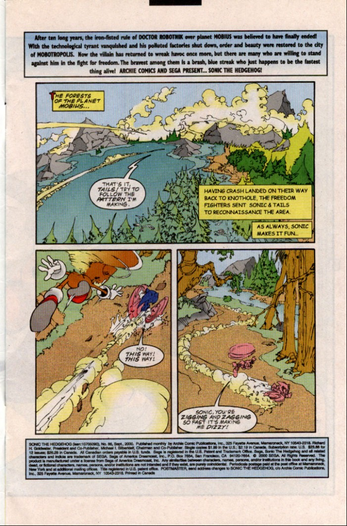 Sonic - Archie Adventure Series September 2000 Page 1