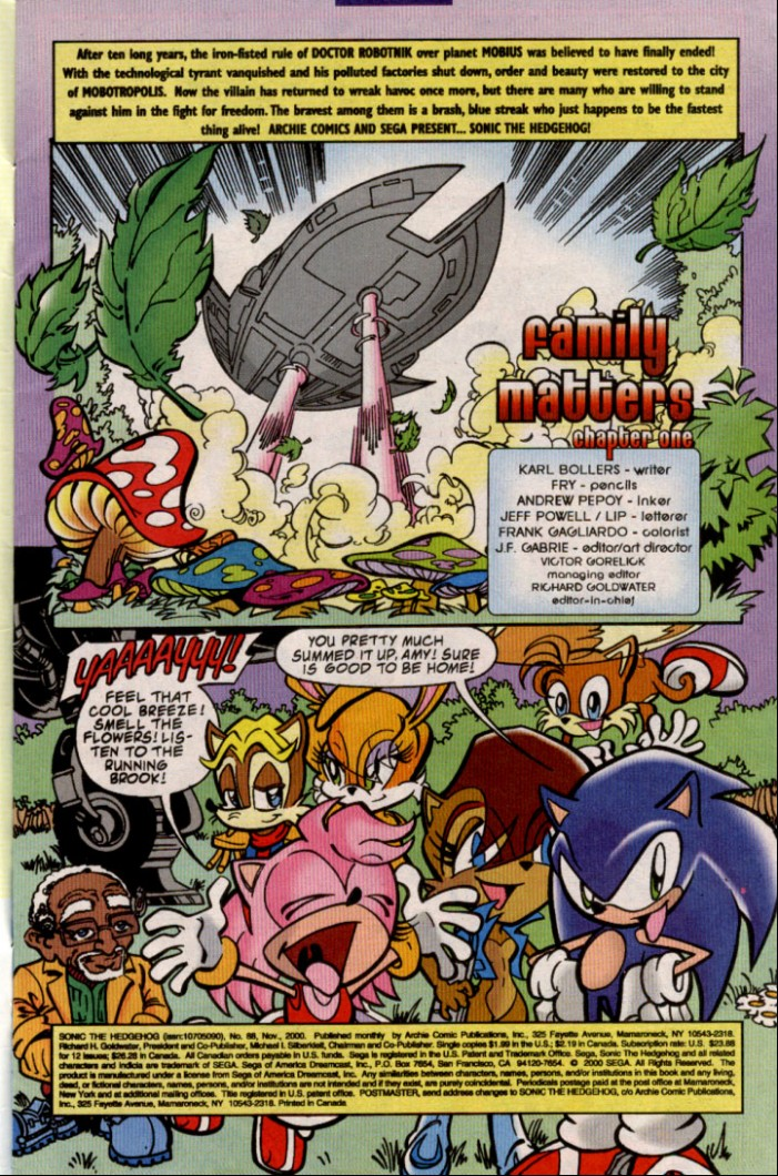 Sonic - Archie Adventure Series November 2000 Page 1