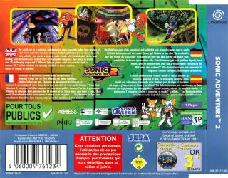 Sonic Adventure 2 (PAL) Back Cover - Click for full size image