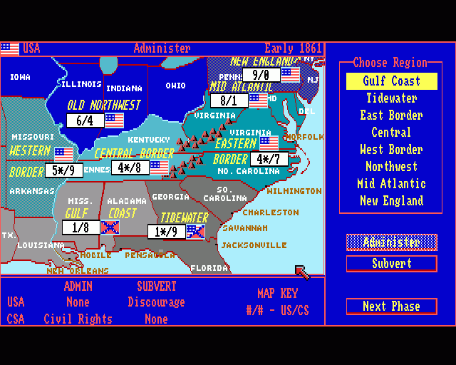 No Greater Glory The American Civil War ROM Amiga ROMs - Us map without border game