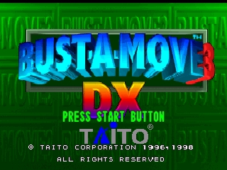 Bust-A-Move 3 DX (Europe) Title Screen