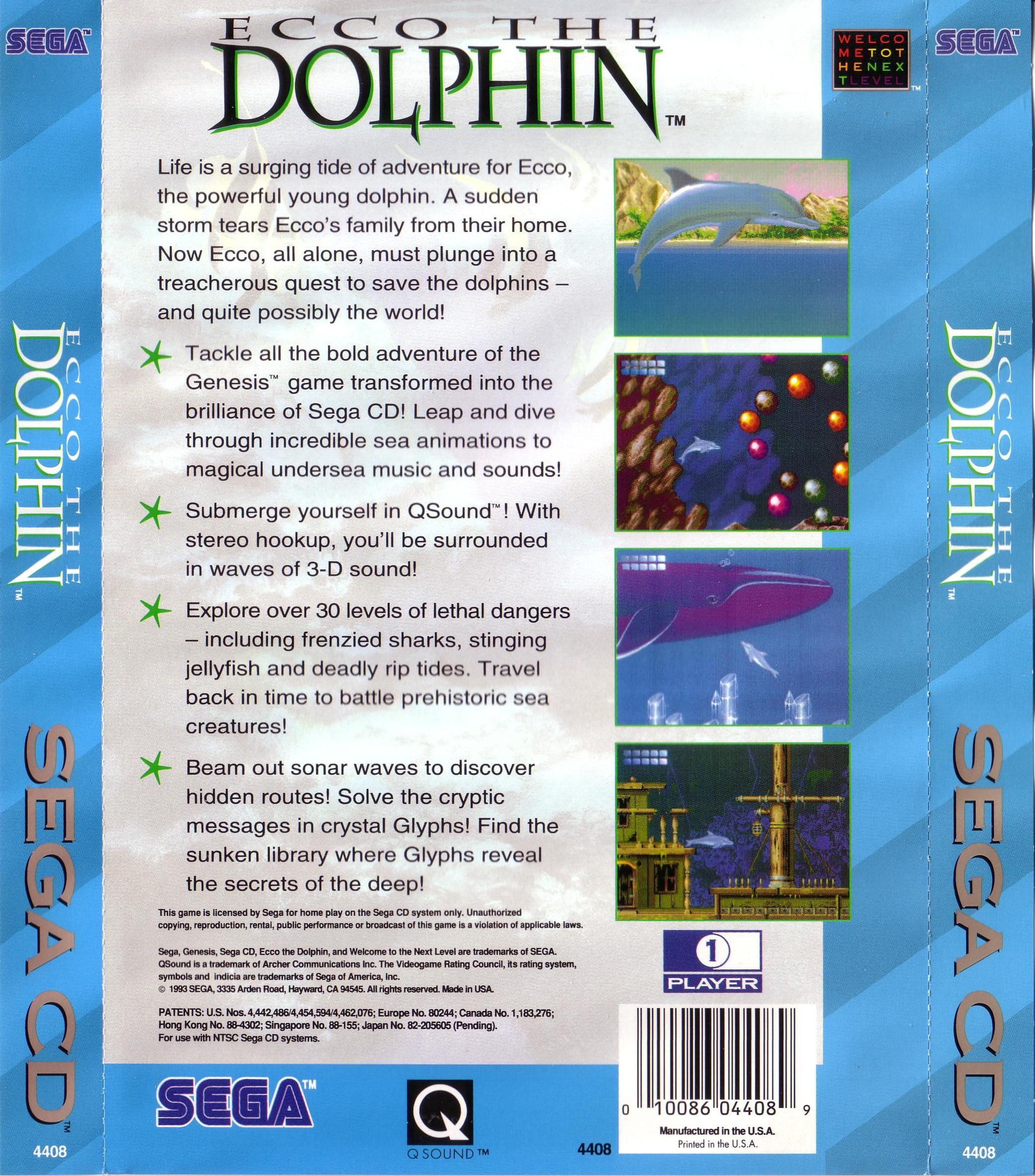 Ecco the Dolphin (U) Back Cover