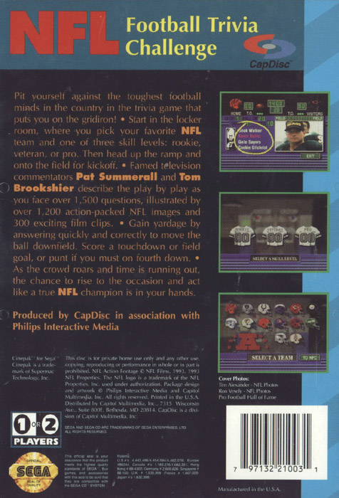 NFL Football Trivia Challenge (U) Back Cover
