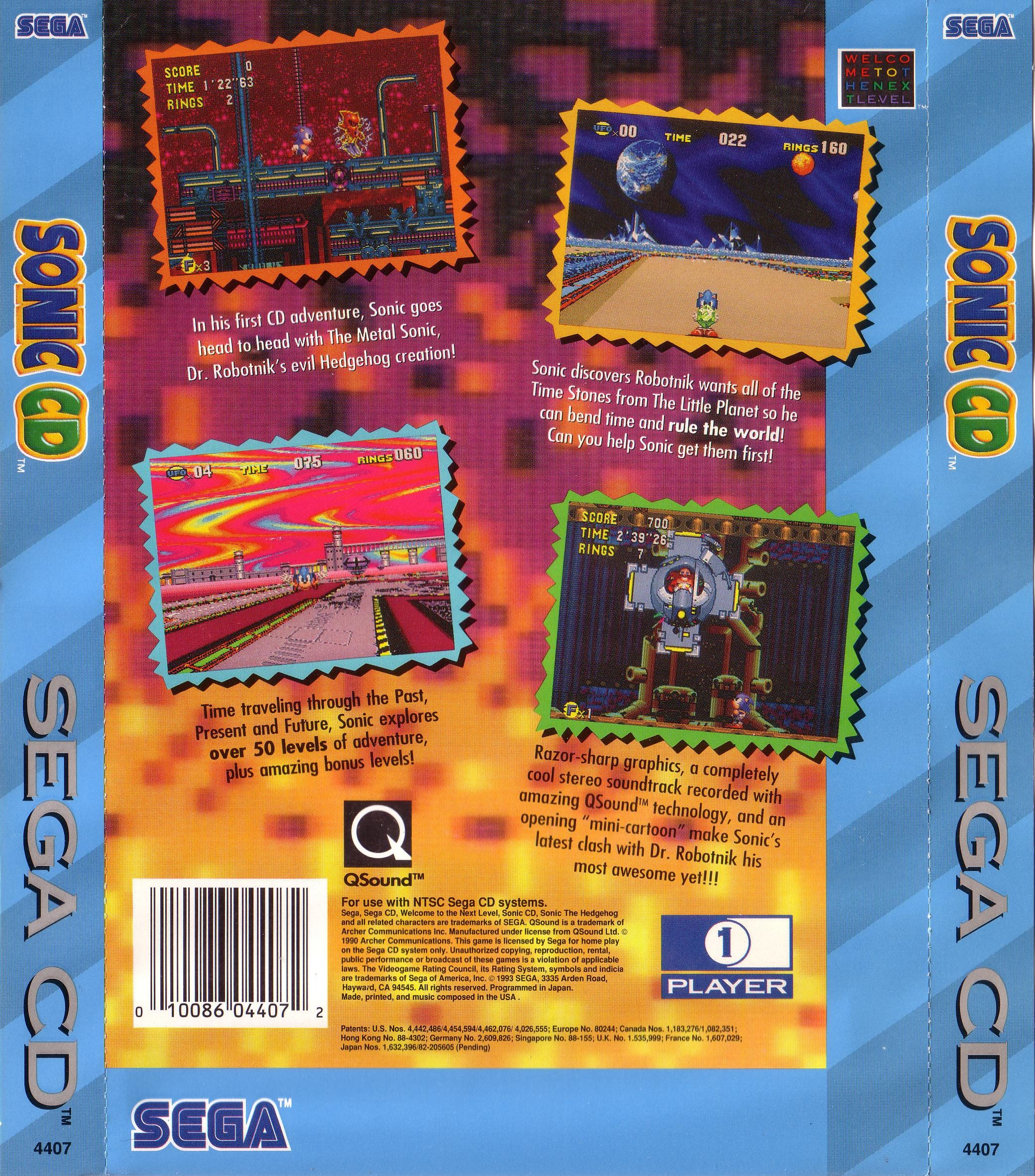 Sonic CD (U) Back Cover