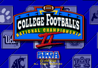 College Football's National Championship II (USA) Title Screen