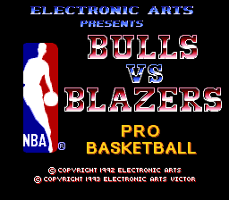 NBA Pro Basketball - Bulls vs Blazers (Japan) Title Screen