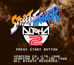 Street Fighter Alpha 2 (USA) Title Screen