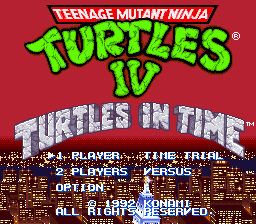 Teenage Mutant Ninja Turtles IV - Turtles in Time (USA) Title Screen